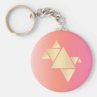 Elegant Modern Gold Geometric Pink Orange Gradient Keychain