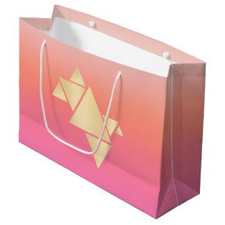 Elegant Modern Gold Geometric Pink Orange Gradient Large Gift Bag