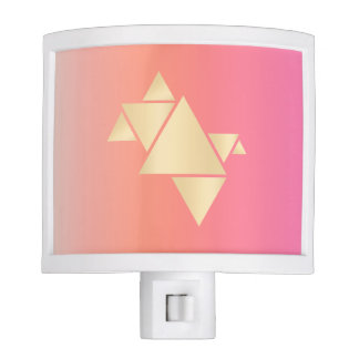 Elegant Modern Gold Geometric Pink Orange Gradient Nite Lights
