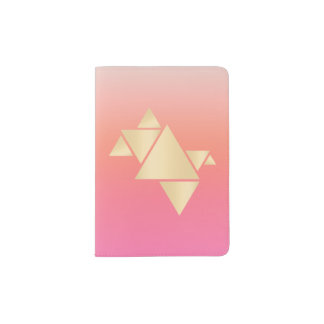 Elegant Modern Gold Geometric Pink Orange Gradient Passport Holder