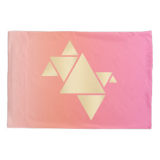 Elegant Modern Gold Geometric Pink Orange Gradient Pillowcase