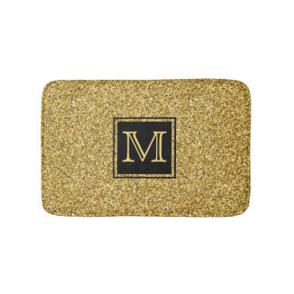 Elegant Modern Gold Glitter Texture With Monogram Bath Mat