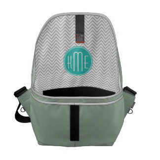 Elegant Modern Gray Chevron and Mint Monogram Courier Bag