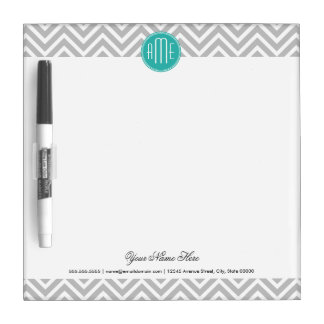 Elegant Modern Gray Chevron and Mint Monogram Dry Erase Board