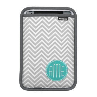 Elegant Modern Gray Chevron and Mint Monogram iPad Mini Sleeve