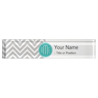 Elegant Modern Gray Chevron and Mint Monogram Nameplate