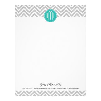 Elegant Modern Gray Chevron and Mint Monogram Personalized Letterhead