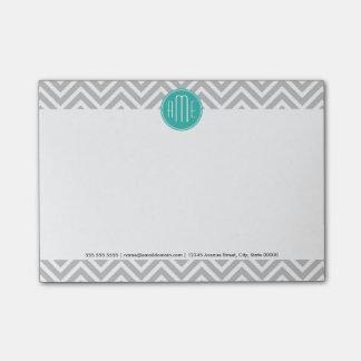 Elegant Modern Gray Chevron and Mint Monogram Post-it Notes