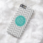 Elegant Modern Grey Chevron and Mint Monogram Barely There iPhone 6 Case