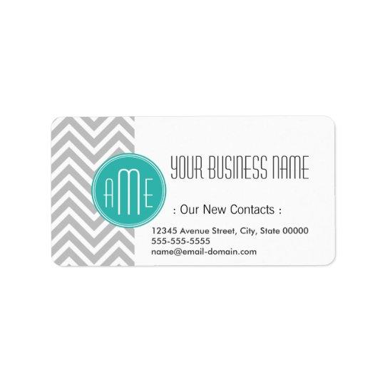 Elegant Modern Grey Chevron and Mint Monogram Label
