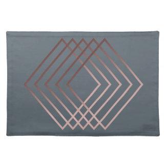 elegant modern minimal faux rose gold geometric placemat
