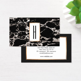 Elegant Modern Monogram, Black Marble, Stone Business Card