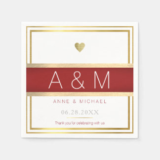 elegant / modern monogram wedding reception paper napkin
