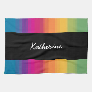 Elegant modern ombre gradient colorful rainbow kitchen towel
