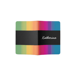 Elegant modern ombre gradient colorful rainbow passport holder