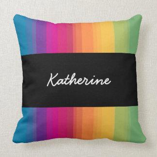 Elegant modern ombre gradient colorful rainbow throw pillow