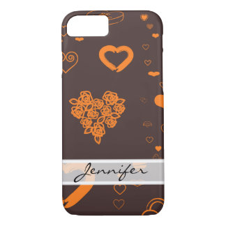 Elegant Modern Orange Heart Pattern iPhone 8/7 Case