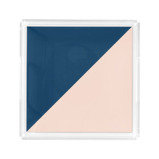 elegant modern pastel peach navy blue color block acrylic tray