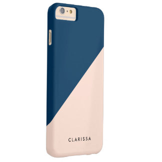 elegant modern pastel peach navy blue color block barely there iPhone 6 plus case