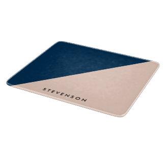 elegant modern pastel peach navy blue color block cutting board