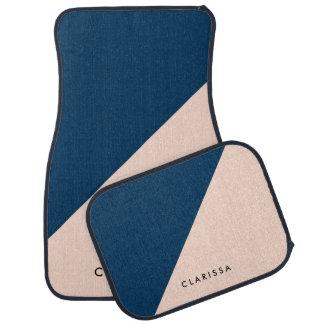 elegant modern pastel peach navy blue color block floor mat