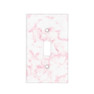 elegant modern pastel pink and white faux marble light switch cover
