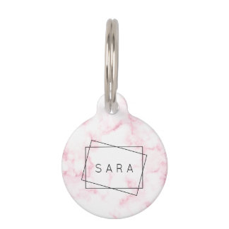 elegant modern pastel pink and white faux marble pet tag