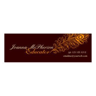 Elegant Modern  Peacock Feather Orange Mini Business Card