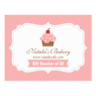 Elegant, Modern, Pink Cupcake, Bakery Voucher Postcard