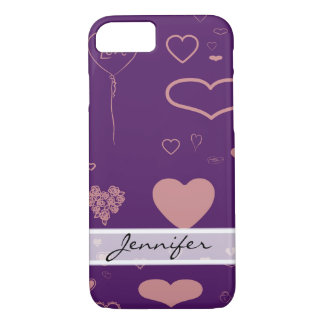 Elegant Modern Pink Heart Pattern iPhone 8/7 Case