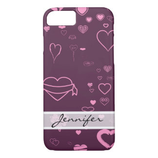 Elegant Modern Pink Purple Heart Pattern iPhone 8/7 Case