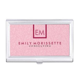 Elegant Modern Plain Pink Glitter And Red Business Card Holder