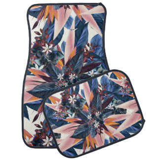 Elegant modern pointy leaf art painting car mat