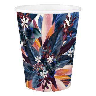 Elegant modern pointy leaf art painting paper cup