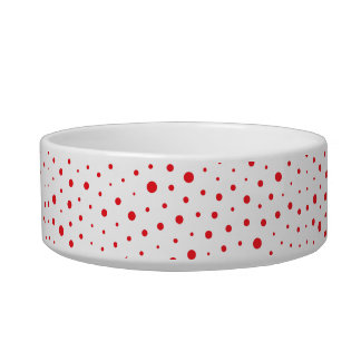 Elegant Modern Polka Dots -Red- Customize BG Bowl