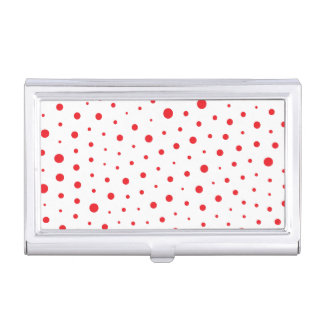 Elegant Modern Polka Dots -Red- Customize BG Business Card Holder