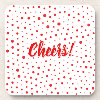 Elegant Modern Polka Dots -Red- Customize BG Coaster