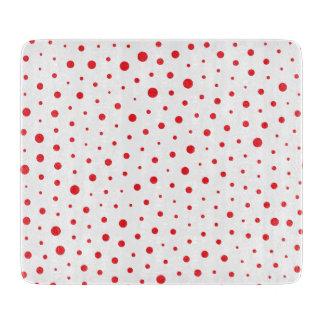 Elegant Modern Polka Dots -Red- Customize BG Cutting Board
