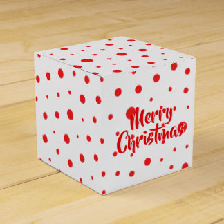 Elegant Modern Polka Dots -Red- Customize BG Favor Box