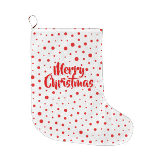 Elegant Modern Polka Dots -Red- Customize BG Large Christmas Stocking
