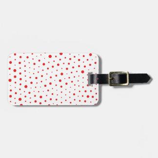 Elegant Modern Polka Dots -Red- Customize BG Luggage Tag