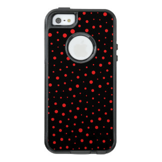 Elegant Modern Polka Dots -Red- Customize BG OtterBox iPhone 5/5s/SE Case