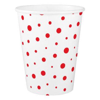 Elegant Modern Polka Dots -Red- Customize BG Paper Cup