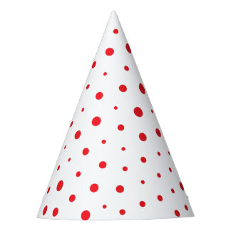 Elegant Modern Polka Dots -Red- Customize BG Party Hat