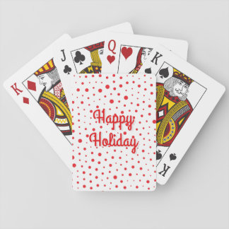 Elegant Modern Polka Dots -Red- Customize BG Playing Cards