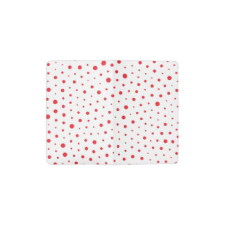 Elegant Modern Polka Dots -Red- Customize BG Pocket Moleskine Notebook