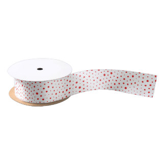 Elegant Modern Polka Dots -Red- Customize BG Satin Ribbon