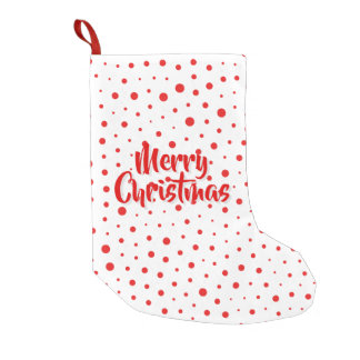 Elegant Modern Polka Dots -Red- Customize BG Small Christmas Stocking