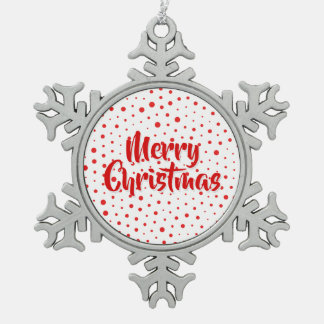 Elegant Modern Polka Dots -Red- Customize BG Snowflake Pewter Christmas Ornament