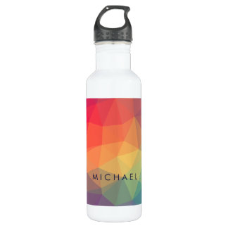 Elegant modern polygonal colored add your name 710 ml water bottle